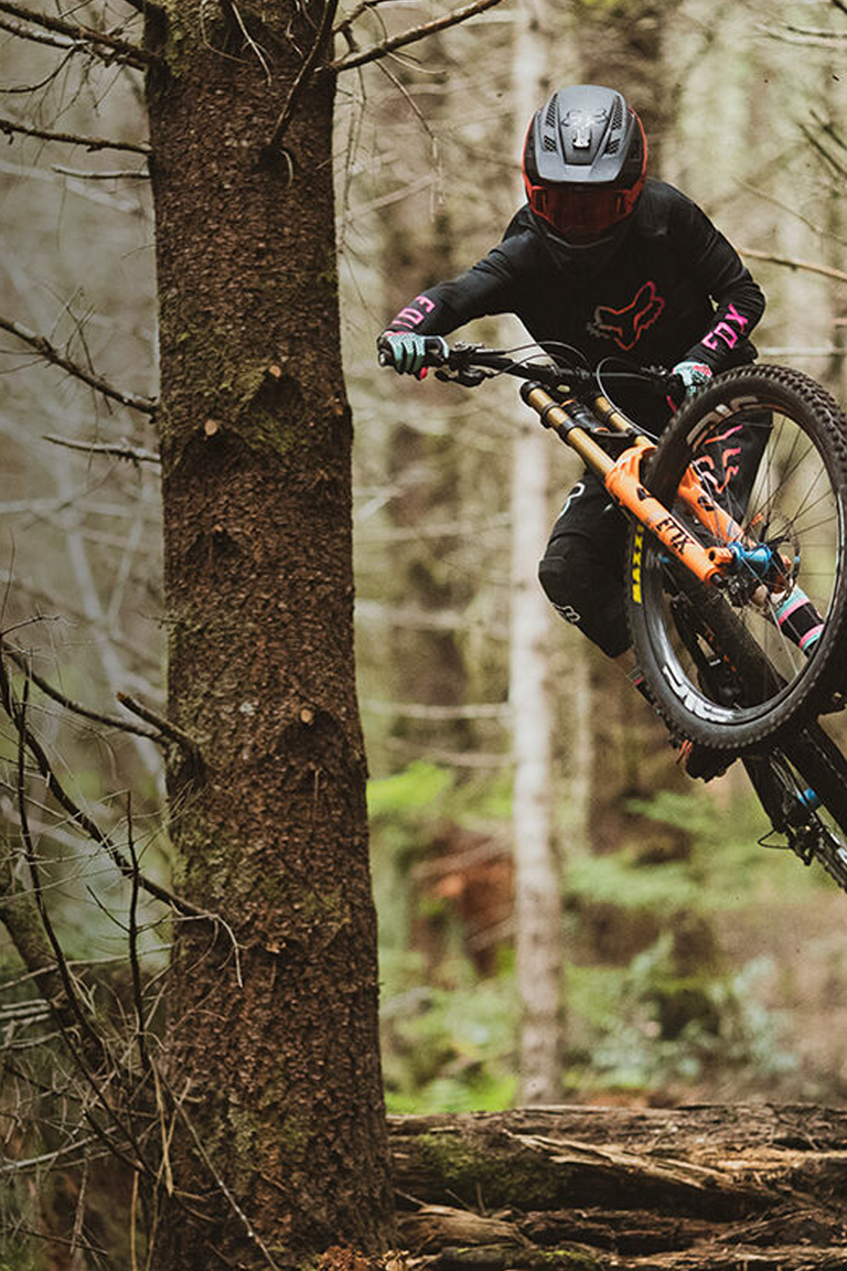 Fox Rider, Jackson Goldstone, ripping down the mountain on his MTB